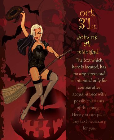 Banner, the invitation to a holiday with a beautiful witch on a broom Vector