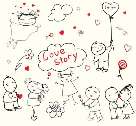 Comic, leuke plot over liefde Vector Illustratie