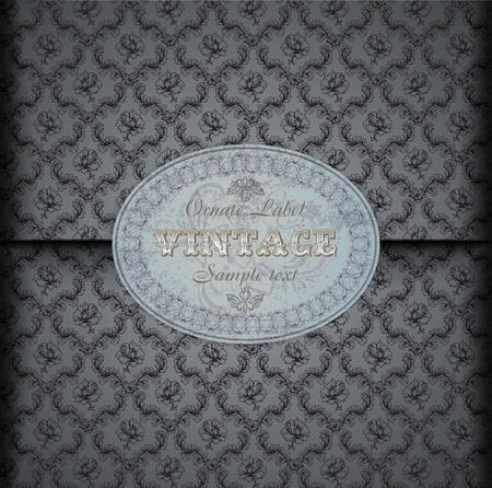 Seamless damask pattern Background with Vintage Label Vector