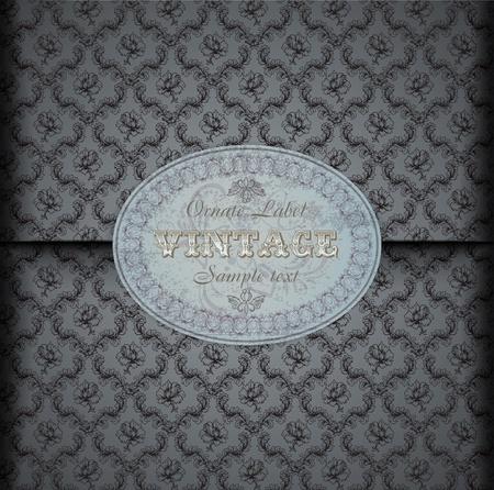 style wealth: Seamless damask pattern Background with Vintage Label Illustration