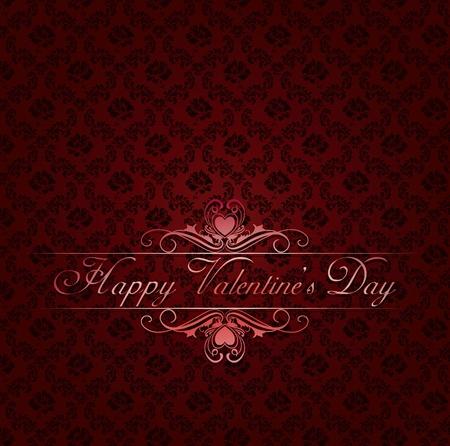 red damask background with vintage frame Happy Valentine Vector