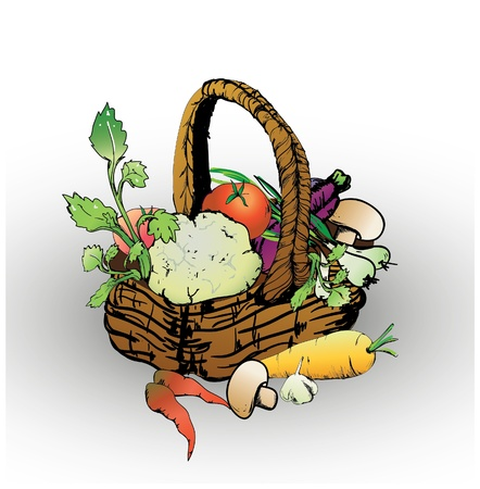 vintage weaving: Basket with vegetables and mushrooms and greens