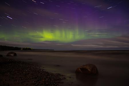 ladoga: Northern Lights on Lake Ladoga, Russia, September 19, 2016
