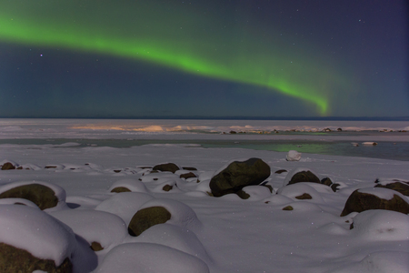 magnetic stones: northern lights in the Leningrad region, Russia