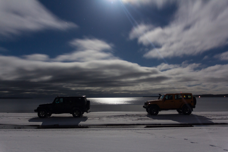 off road: Karelia, Russia, Dec 10, 2016 check out the Jeep Wrangler club on lake Ladoga, the Jeep Wrangler is a compact four wheel drive off road and sport utility vehicle
