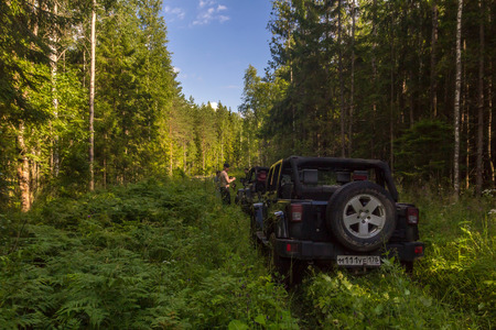 07292017. Leningrad region. Russia. Jeep Wrangler with forest road in the Leningrad region. Wrangler is a compact SUV manufactured by Chrysler