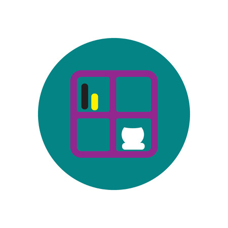 magazine stack: Vector icon on the white backgrounds in circles  bookshelf Illustration