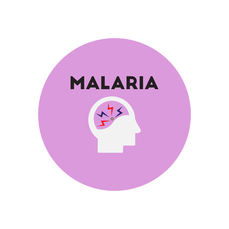 malaria: Vector icon  on  circle various symptoms of Malaria on the human