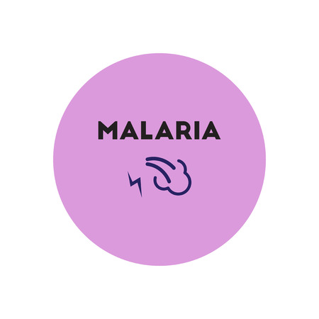 malaria: Vector icon  on  circle various symptoms of Malaria on the bodies
