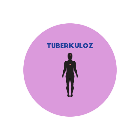 tb: Vector icon  on  circle various symptoms of Tuberculosis on the human Illustration
