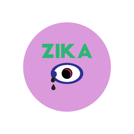 skin infections: Vector icon  on  circle various symptoms of Zika on the human Illustration