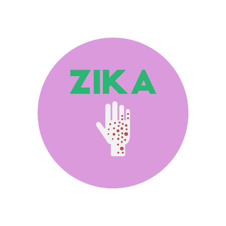 contagion: Vector icon  on  circle various symptoms of Zika on the human Illustration