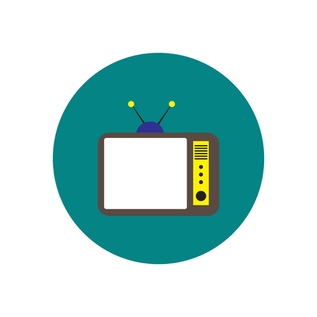 show case: Vector icon on the white backgrounds in circles retro tv