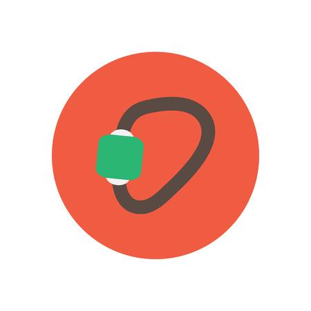 karabiner: stylish icon in  circle Mountaineering carabiner tool