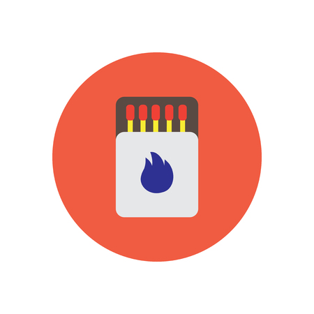 burning paper: stylish icon in  circle Matchbox and matches Illustration