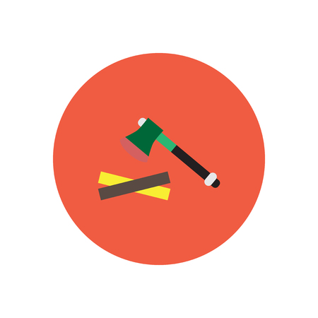 ligneous: stylish icon in  circle wood and an ax Illustration