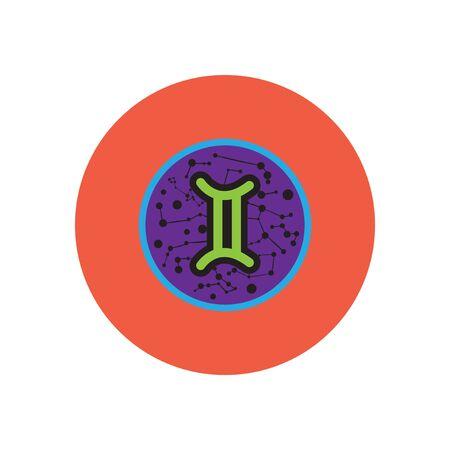 stylish icon in color circle Zodiac sign Gemini