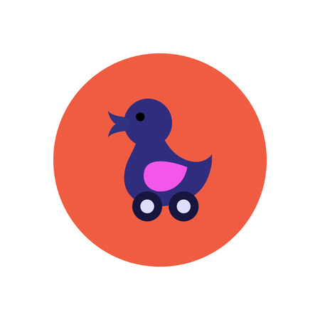 duck toy: stylish icon in color  circle duck toy Illustration