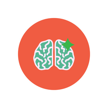 midbrain: stylish icon in color  circle brain stroke Illustration