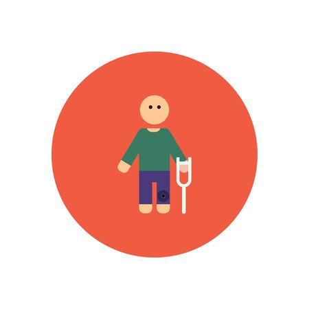 leg bandage: stylish icon in color  circle man with crutch