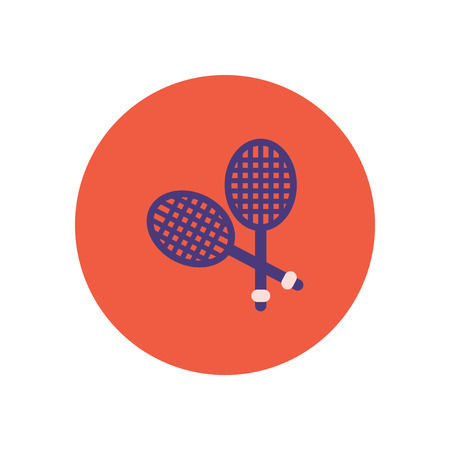 racquetball: stylish icon in color  circle tennis rocket