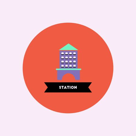 stylish icon in color circle  building Station Illustration