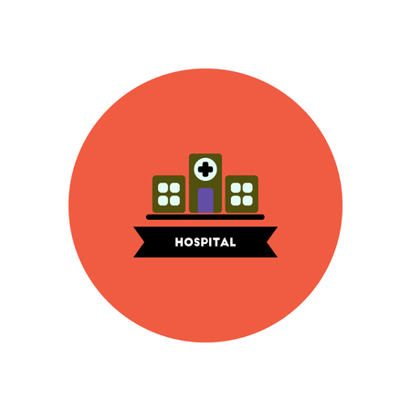 ambulatory: stylish icon in color circle  building hospital Illustration
