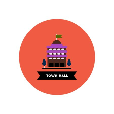 town hall: stylish icon in color circle  building town hall