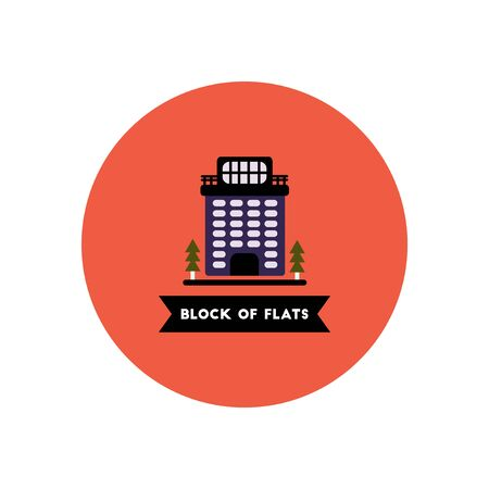 apartment block: stylish icon in color circle  building apartment block Illustration