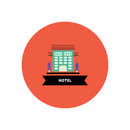 hotel building: stylish icon in color  circle building hotel Illustration