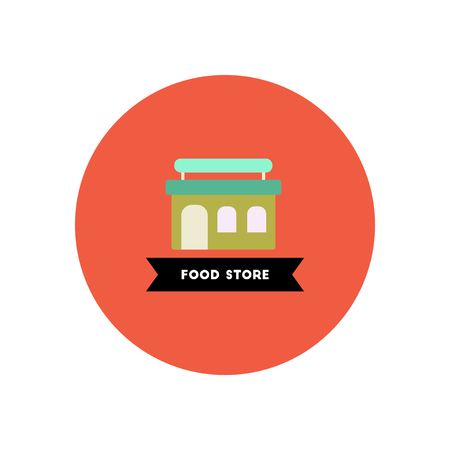 shop assistant: stylish icon in color circle  building grocery store