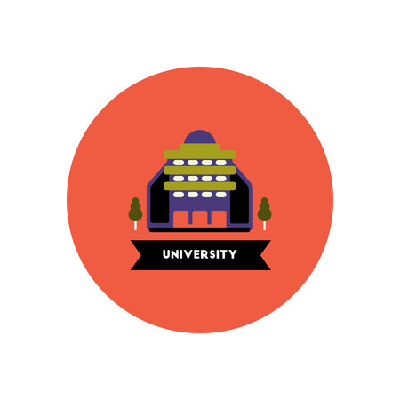 educational institution: stylish icon in color  circle building university