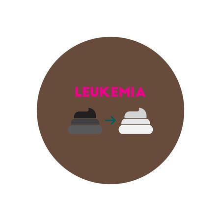 leukemia: Vector icon  on  circle various symptoms of leukemia on feces