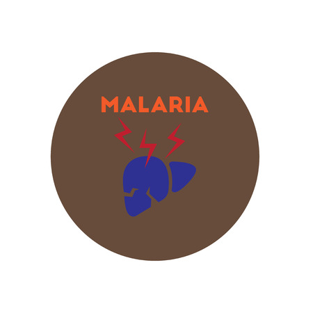 inflammatory: Vector icon  on  circle various symptoms of Malaria on the bodies