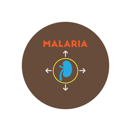 skin infections: Vector icon  on  circle various symptoms of Malaria on the bodies