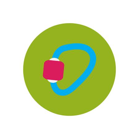 mountaineering: stylish icon in  circle Mountaineering carabiner tool