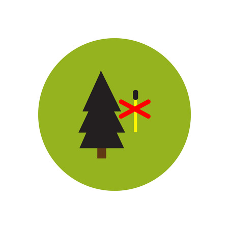 forest fire: stylish icon in  circle forest fire ban