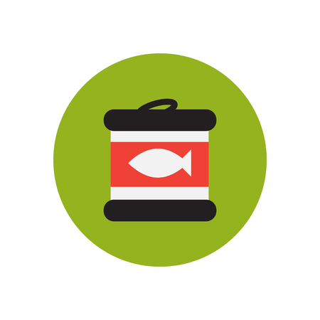 tinned: stylish icon in  circle Canned tuna fish Illustration