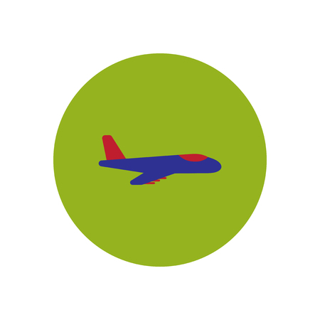 fuselage: stylish icon in color  circle travel airplane