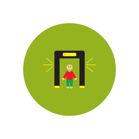detect: stylish icon in color  circle people scanner Illustration