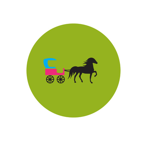 chariot: stylish icon in color  circle carriage with horse Illustration