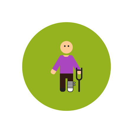 standing on one leg: stylish icon in color  circle man with crutch