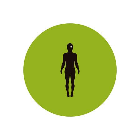 optic nerves: stylish icon in color  circle body eye