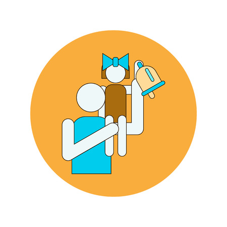 Back to School and Education Vector Flat Design pupils and bell Illustration