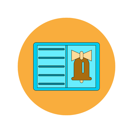 bell ringer: Back to School and Education Vector Flat Design bell and book Illustration