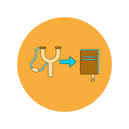 catapult: Back to School and Education Vector Flat Design Slingshot and book Illustration