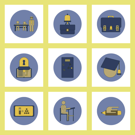 sharpening: Collection of back to school items in flat style education tools Illustration