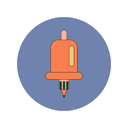 Back to School and Education Vector Flat Design bell and pencil Illustration
