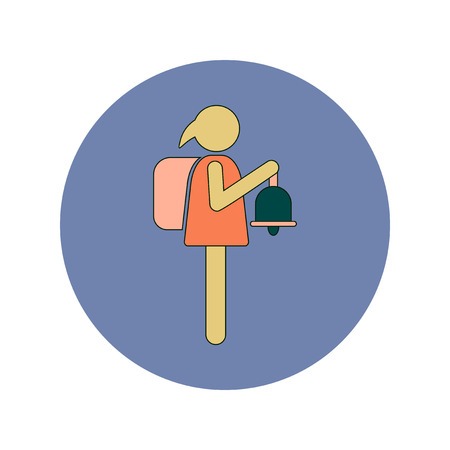 ding dong: Back to School and Education Vector Flat Design schoolgirl with bell