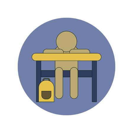 Back to School and Education Vector Flat Design schoolboy sitting at school desk Illustration